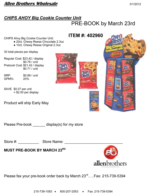 Chips Ahoy Counter Unit for Chewy Reese Cookies